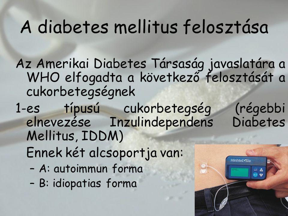 A diabetes mellitus felosztása Az Amerikai Diabetes Társaság javaslatára a WHO elfogadta a következő felosztását a cukorbetegségnek 1-es típusú cukorbetegség (régebbi elnevezése Inzulindependens Diabetes Mellitus, IDDM) Ennek két alcsoportja van: –A: autoimmun forma –B: idiopatias forma