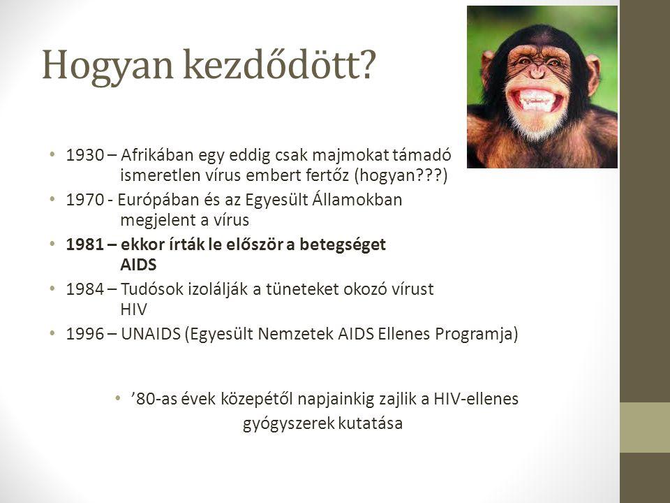Hogyan kezdődött? 1930 – Afrikában egy eddig csak majmokat támadó ismeretlen vírus embert fertőz (hogyan???) 1970 - Európában és az Egyesült Államokba