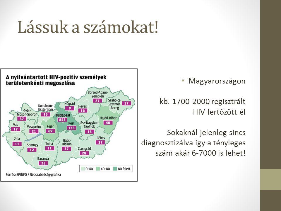 Lássuk a számokat! Magyarországon kb. 1700-2000 regisztrált HIV fertőzött él Sokaknál jelenleg sincs diagnosztizálva így a tényleges szám akár 6-7000