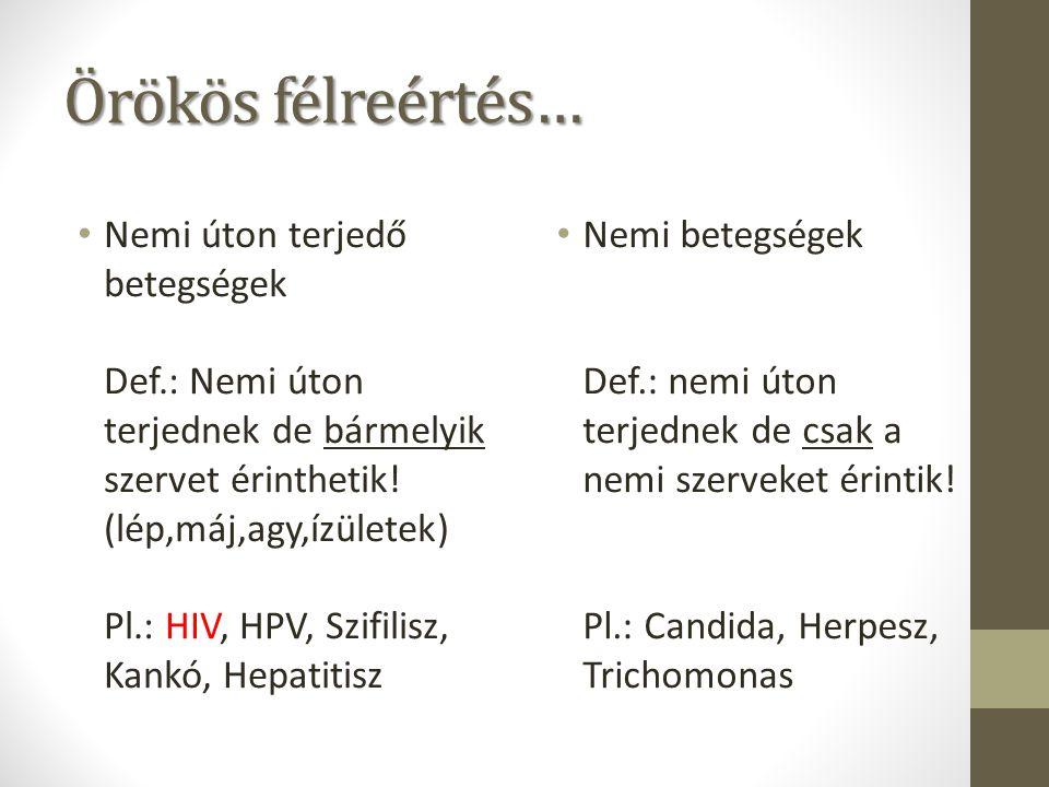 Örökös félreértés… Nemi úton terjedő betegségek Def.: Nemi úton terjednek de bármelyik szervet érinthetik! (lép,máj,agy,ízületek) Pl.: HIV, HPV, Szifi