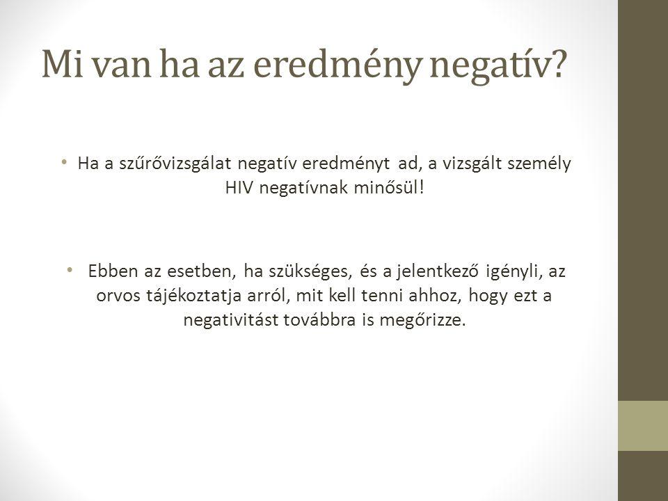 Mi van ha az eredmény negatív? Ha a szűrővizsgálat negatív eredményt ad, a vizsgált személy HIV negatívnak minősül! Ebben az esetben, ha szükséges, és