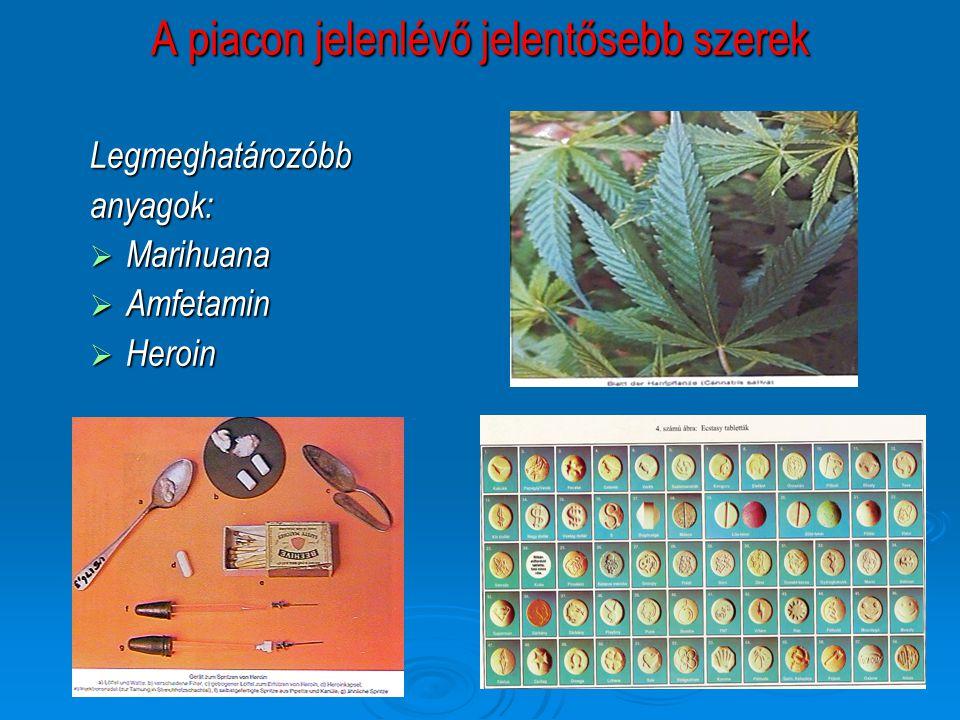 A piacon jelenlévő jelentősebb szerek Legmeghatározóbbanyagok:  Marihuana  Amfetamin  Heroin