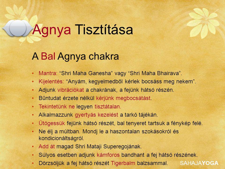 """SAHAJAYOGA Agnya Tisztítása A Bal Agnya chakra Mantra: """"Shri Maha Ganesha"""" vagy """"Shri Maha Bhairava"""". Kijelentés: """"Anyám, kegyelmedből kérlek bocsáss"""