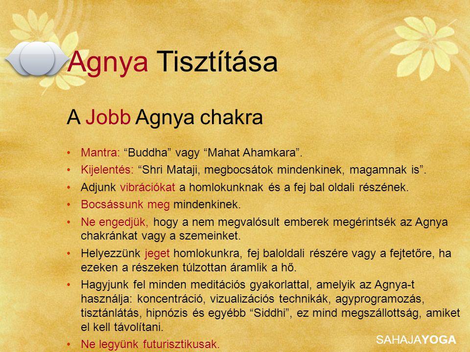 """SAHAJAYOGA Agnya Tisztítása A Jobb Agnya chakra Mantra: """"Buddha"""" vagy """"Mahat Ahamkara"""". Kijelentés: """"Shri Mataji, megbocsátok mindenkinek, magamnak is"""