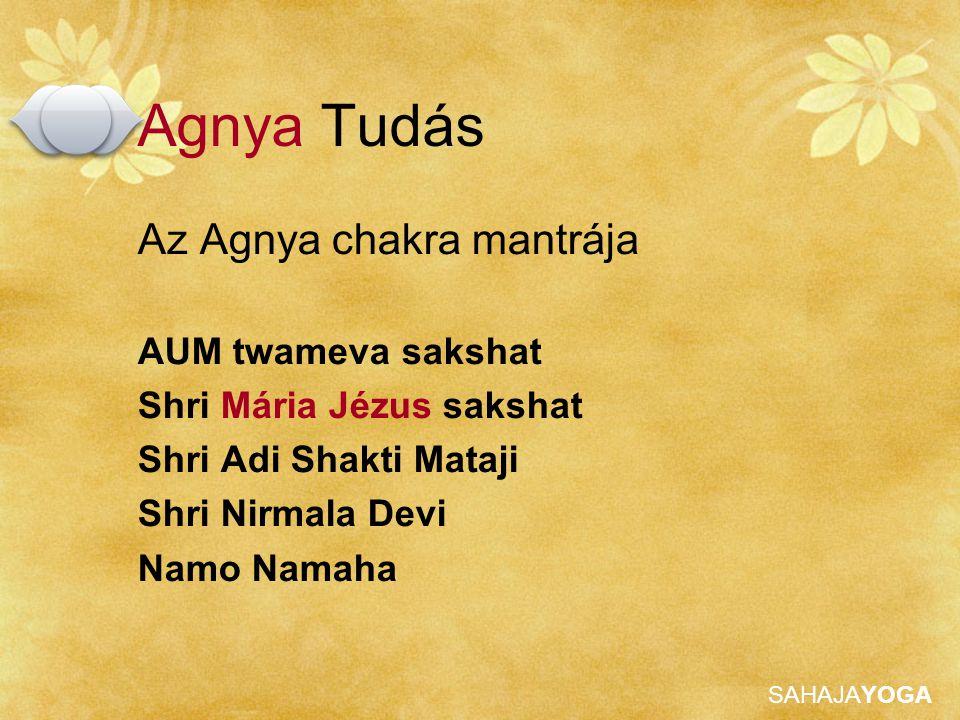 SAHAJAYOGA Agnya Tudás Az Agnya chakra mantrája AUM twameva sakshat Shri Mária Jézus sakshat Shri Adi Shakti Mataji Shri Nirmala Devi Namo Namaha