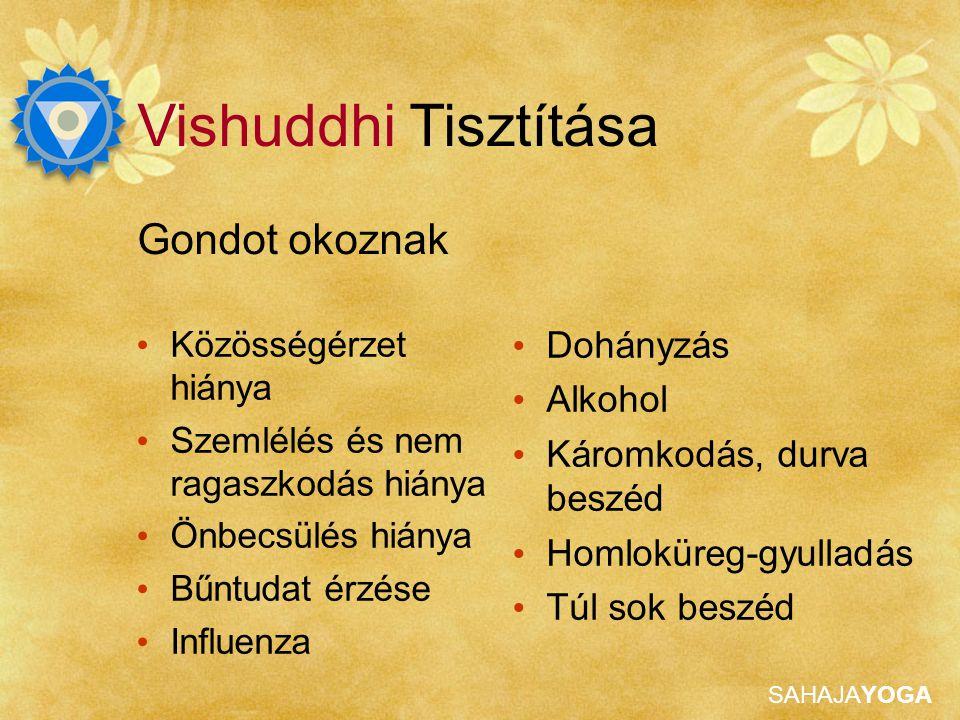 SAHAJAYOGA Gondot okoznak Vishuddhi Tisztítása Dohányzás Alkohol Káromkodás, durva beszéd Homloküreg-gyulladás Túl sok beszéd Közösségérzet hiánya Szemlélés és nem ragaszkodás hiánya Önbecsülés hiánya Bűntudat érzése Influenza