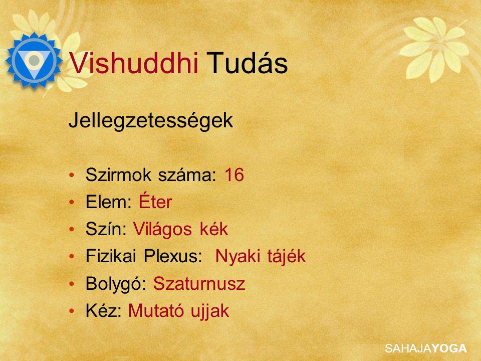 SAHAJAYOGA Vishuddhi Tudás Megnyilvánulása Nyaki tájék Nyak, karok, száj, nyelv, fogak, orr, arc, beszéd, a fül külső és belső részei, szemek mozgása