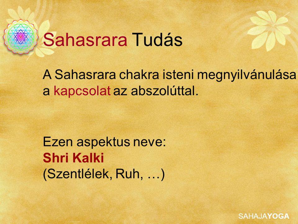 SAHAJAYOGA Ezen aspektus neve: Shri Kalki (Szentlélek, Ruh, …) A Sahasrara chakra isteni megnyilvánulása a kapcsolat az abszolúttal.