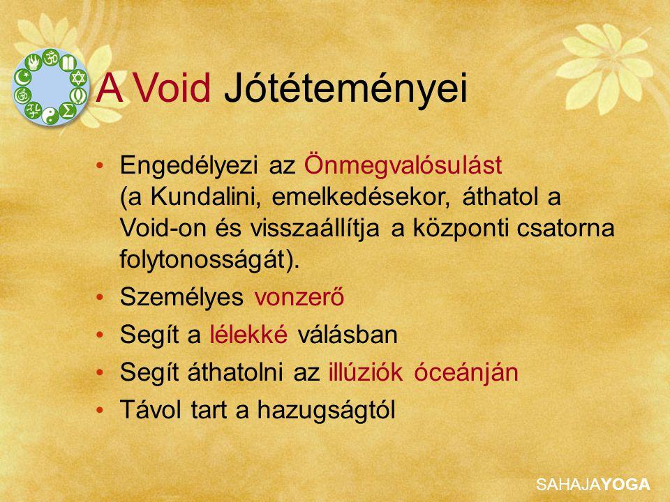 SAHAJAYOGA A Void Jótéteményei Engedélyezi az Önmegvalósulást (a Kundalini, emelkedésekor, áthatol a Void-on és visszaállítja a központi csatorna folytonosságát).