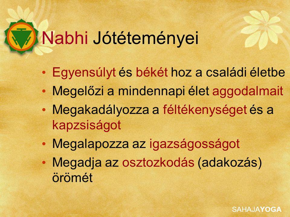 SAHAJAYOGA Nabhi Jótéteményei Egyensúlyt és békét hoz a családi életbe Megelőzi a mindennapi élet aggodalmait Megakadályozza a féltékenységet és a kapzsiságot Megalapozza az igazságosságot Megadja az osztozkodás (adakozás) örömét