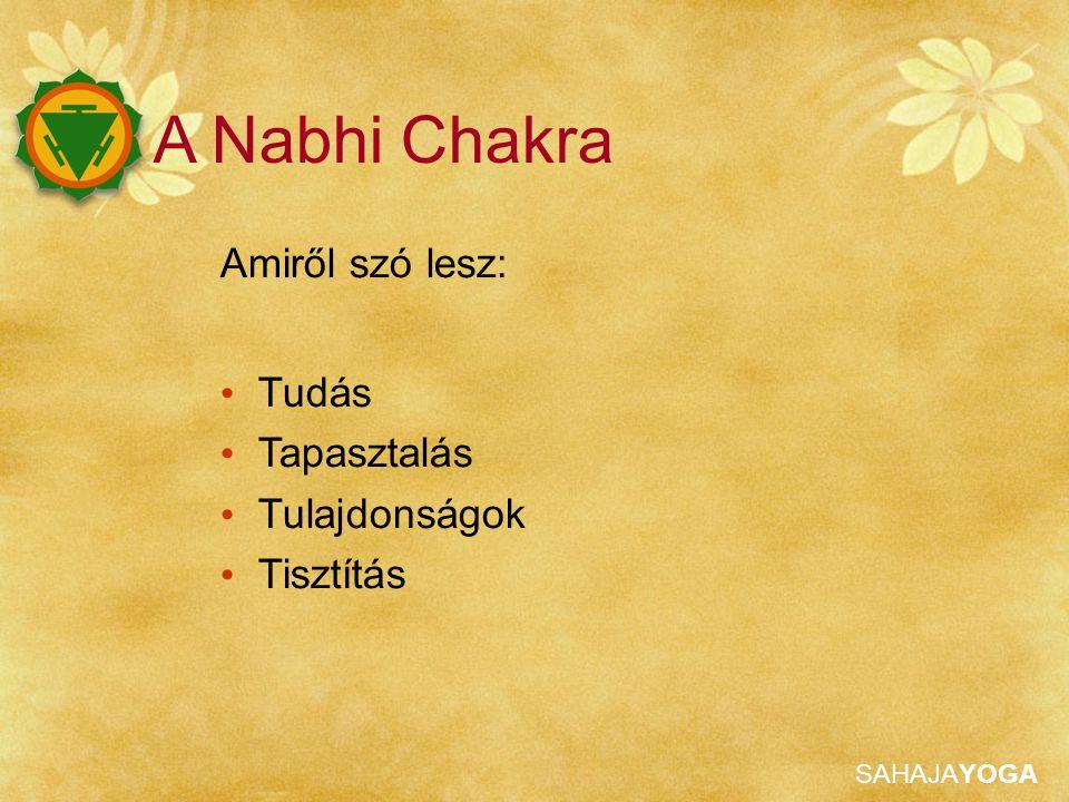 SAHAJAYOGA A Nabhi Chakra Amiről szó lesz: Tudás Tapasztalás Tulajdonságok Tisztítás