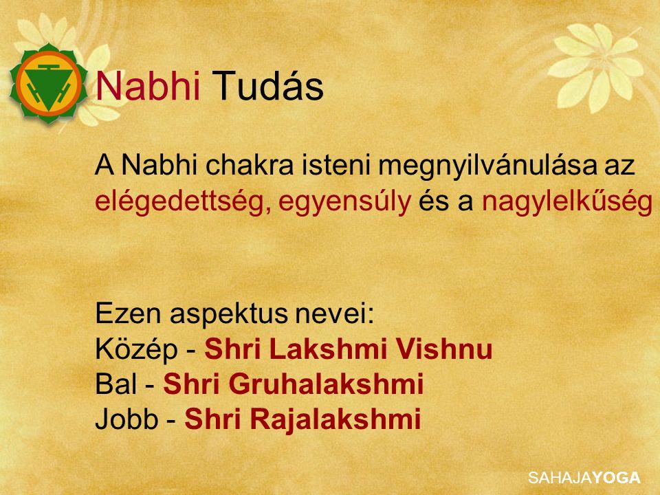SAHAJAYOGA Ezen aspektus nevei: Közép - Shri Lakshmi Vishnu Bal - Shri Gruhalakshmi Jobb - Shri Rajalakshmi A Nabhi chakra isteni megnyilvánulása az elégedettség, egyensúly és a nagylelkűség Nabhi Tudás