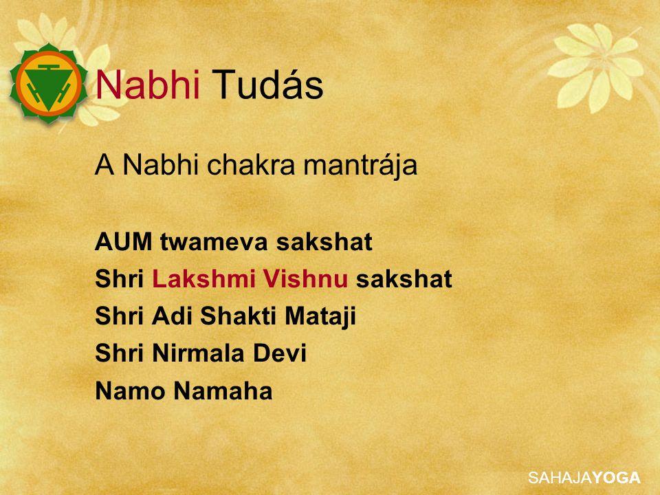 SAHAJAYOGA Nabhi Tudás A Nabhi chakra mantrája AUM twameva sakshat Shri Lakshmi Vishnu sakshat Shri Adi Shakti Mataji Shri Nirmala Devi Namo Namaha