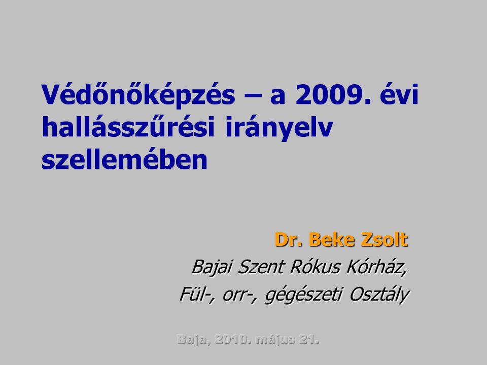 Védőnőképzés – a 2009. évi hallásszűrési irányelv szellemében Dr. Beke Zsolt Bajai Szent Rókus Kórház, Fül-, orr-, gégészeti Osztály