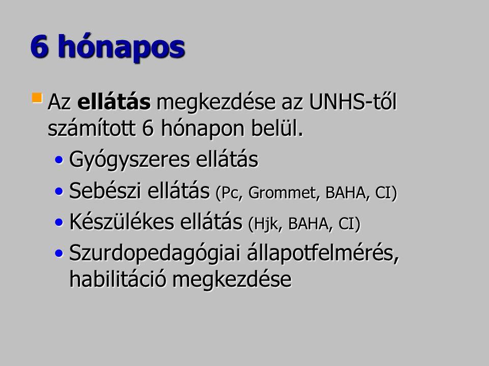 6 hónapos  Az ellátás megkezdése az UNHS-től számított 6 hónapon belül. Gyógyszeres ellátásGyógyszeres ellátás Sebészi ellátás (Pc, Grommet, BAHA, CI