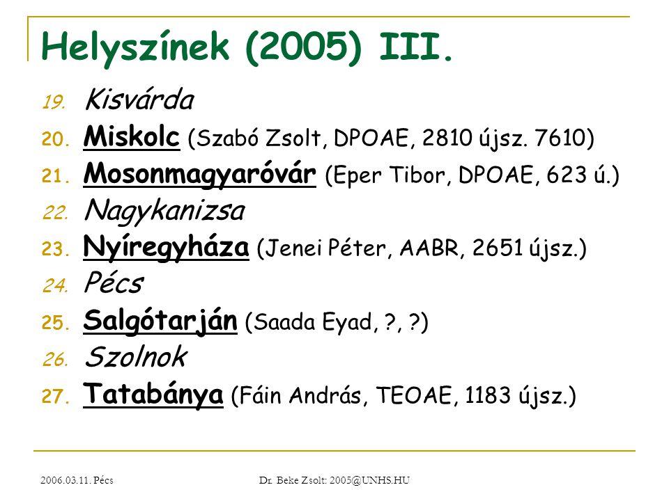 2006.03.11. Pécs Dr. Beke Zsolt: 2005@UNHS.HU Helyszínek (2005) III. 19. Kisvárda 20. Miskolc (Szabó Zsolt, DPOAE, 2810 újsz. 7610) 21. Mosonmagyaróvá