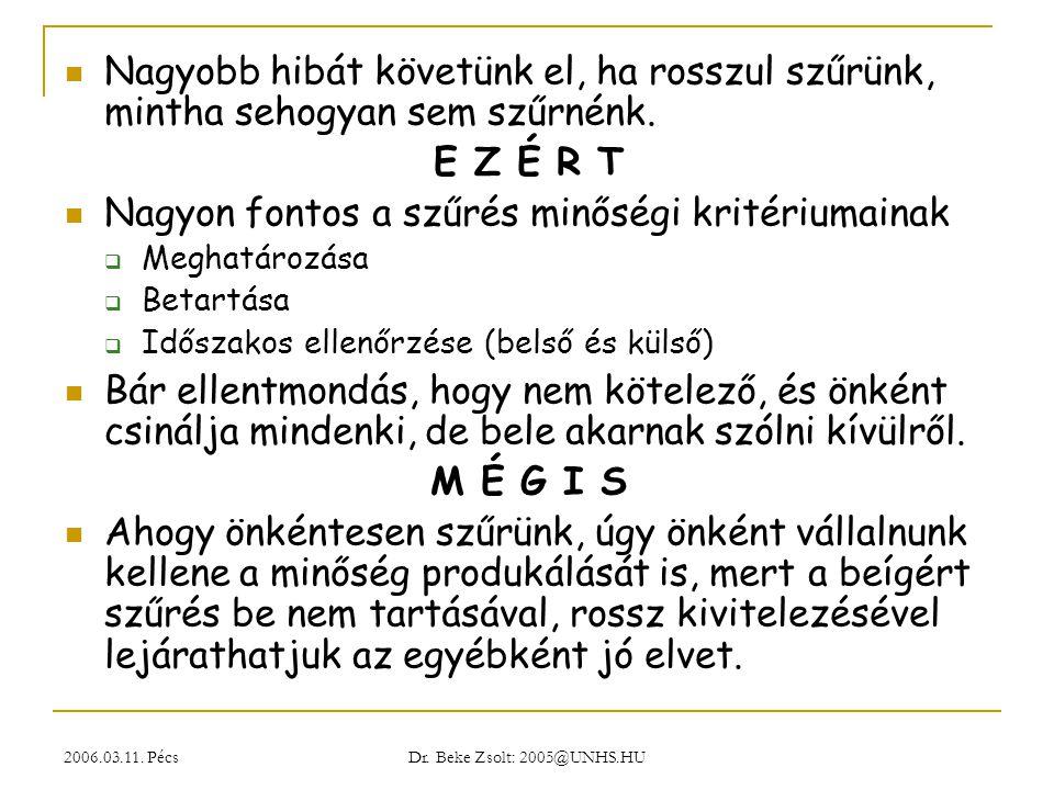 2006.03.11. Pécs Dr. Beke Zsolt: 2005@UNHS.HU Nagyobb hibát követünk el, ha rosszul szűrünk, mintha sehogyan sem szűrnénk. E Z É R T Nagyon fontos a s