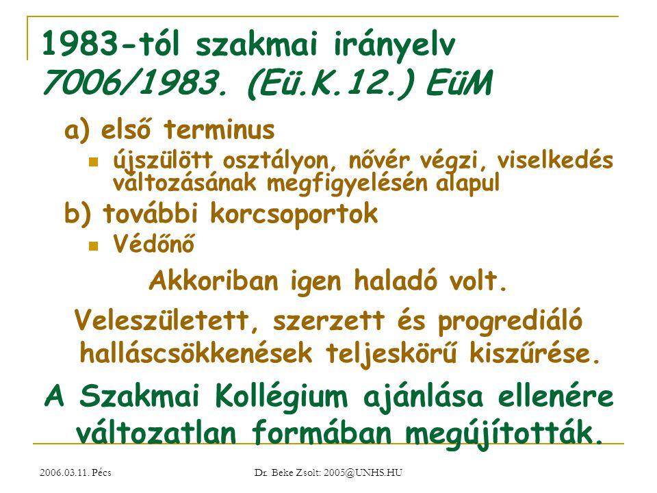 2006.03.11. Pécs Dr. Beke Zsolt: 2005@UNHS.HU 1983-tól szakmai irányelv 7006/1983. (Eü.K.12.) EüM a) első terminus újszülött osztályon, nővér végzi, v
