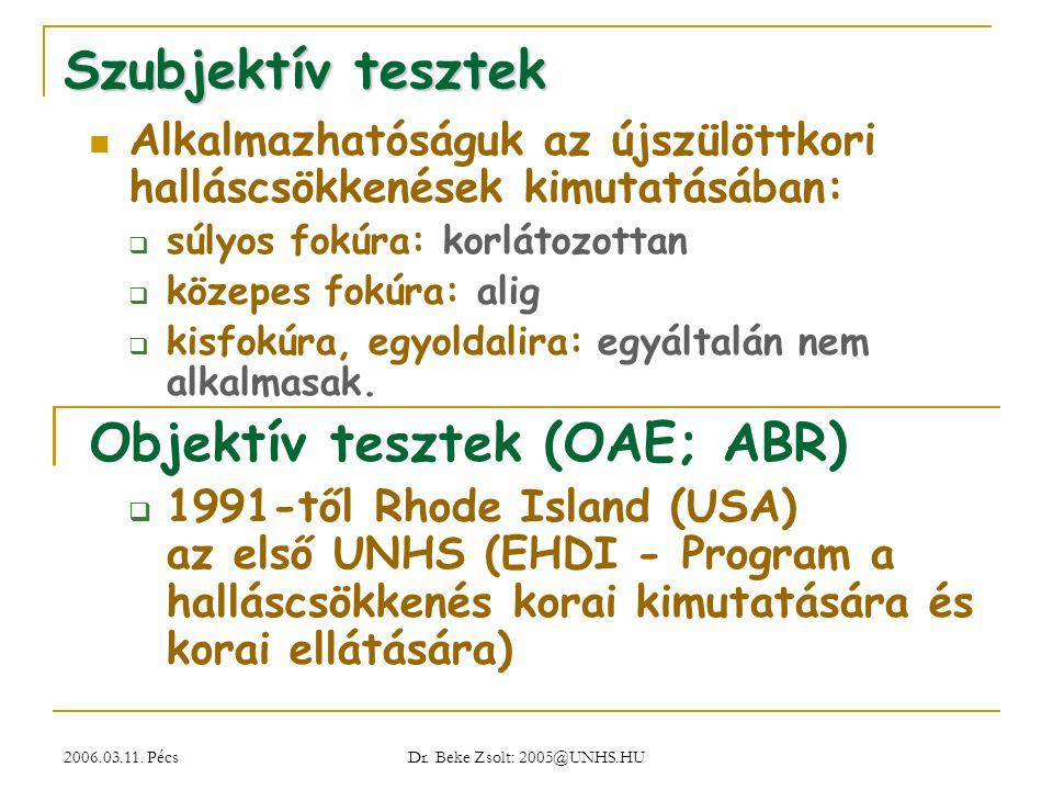 2006.03.11. Pécs Dr. Beke Zsolt: 2005@UNHS.HU Szubjektív tesztek Alkalmazhatóságuk az újszülöttkori halláscsökkenések kimutatásában:  súlyos fokúra: