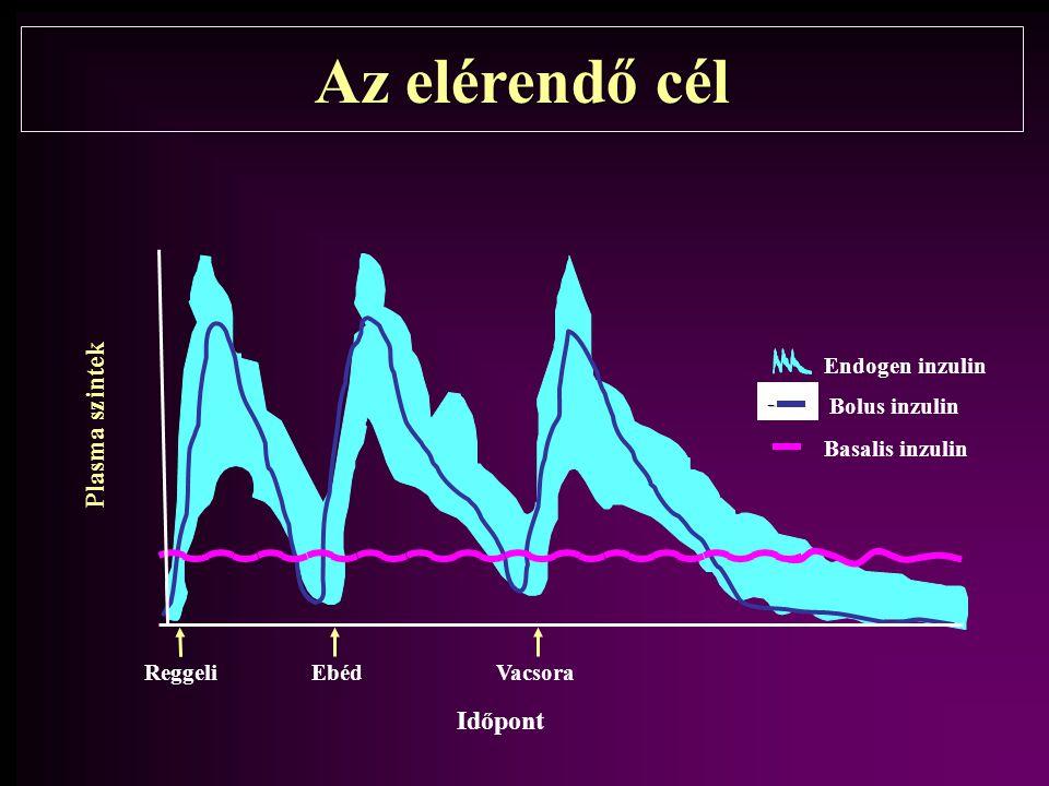Az elérendő cél ReggeliVacsoraEbéd Plasma szintek - Bolus inzulin Basalis inzulin Endogen inzulin Időpont