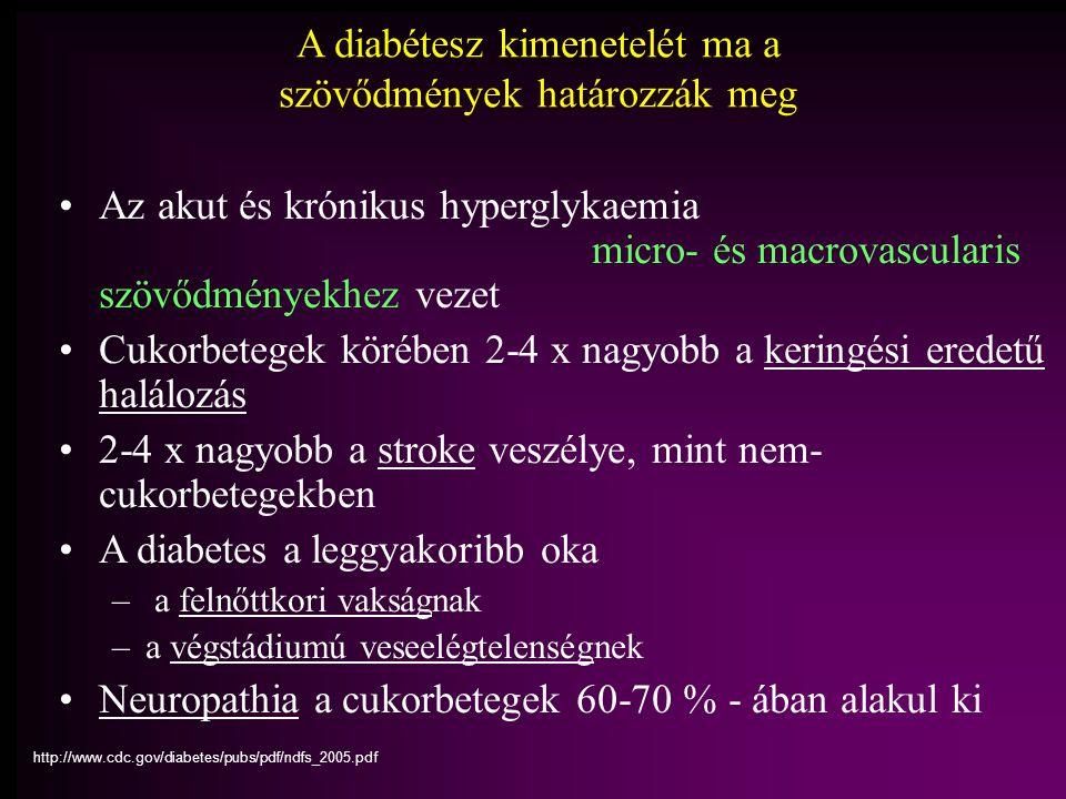 A diabétesz kimenetelét ma a szövődmények határozzák meg Az akut és krónikus hyperglykaemia micro- és macrovascularis szövődményekhez vezet Cukorbetegek körében 2-4 x nagyobb a keringési eredetű halálozás 2-4 x nagyobb a stroke veszélye, mint nem- cukorbetegekben A diabetes a leggyakoribb oka – a felnőttkori vakságnak –a végstádiumú veseelégtelenségnek Neuropathia a cukorbetegek 60-70 % - ában alakul ki http://www.cdc.gov/diabetes/pubs/pdf/ndfs_2005.pdf