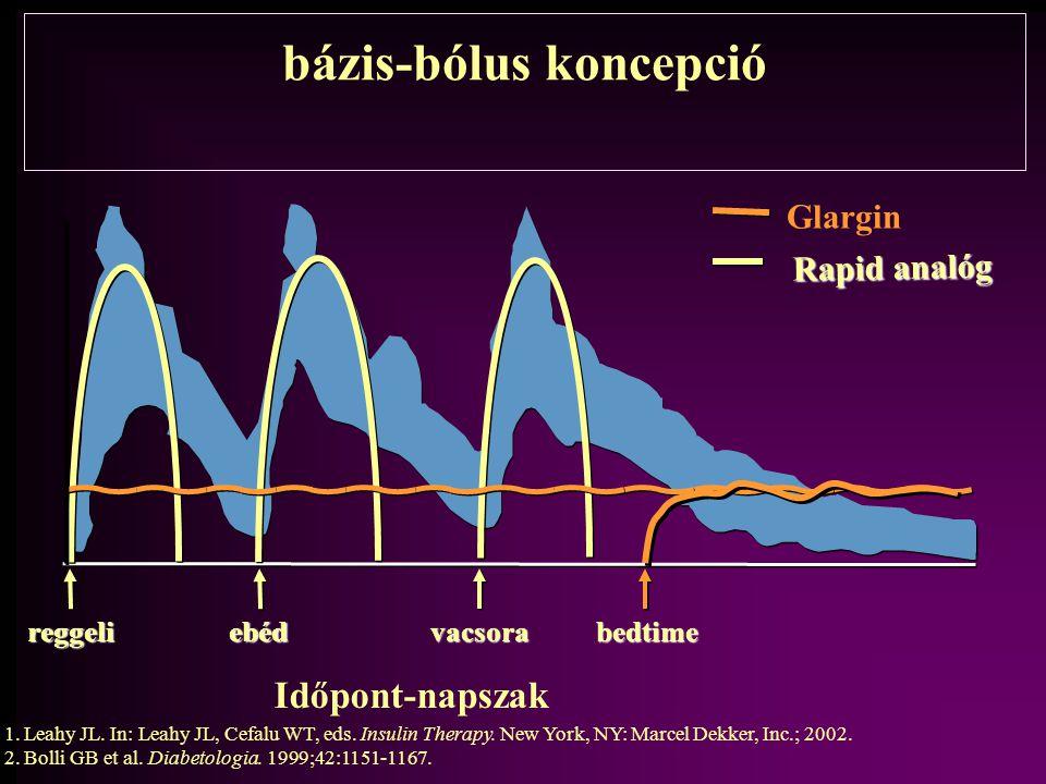 bázis-bólus koncepció Glargin Rapid analóg reggelivacsoraebédbedtime Időpont-napszak 1.Leahy JL.