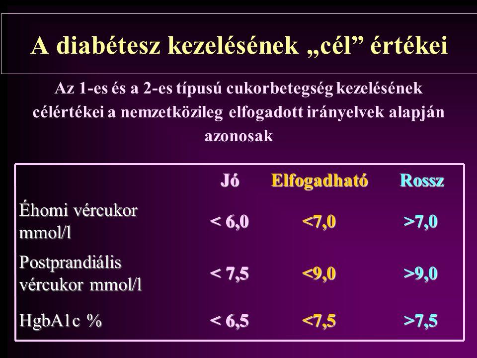 Az Amerikai és az Európai Diabétesz Társaság közös irányelve 2006 Kiemelendő változások 7% feletti HbA1C értékek esetében el kell kezdeni a kezelést, ill váltani kell a meglévő nem kellően hatékony terápiát és legalább 7% alatt kell tartani az HbA1C értéket folyamatosan Magyar nyelvű megjelenés és kommentár Metabolizmus 2006.