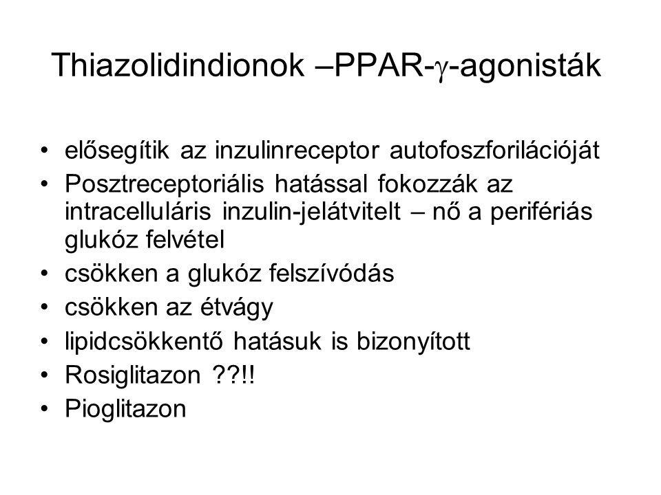 Thiazolidindionok –PPAR-  -agonisták Diabetes prevenció – (TRIPOD), DREAM – 62%- kal csökkentette az IFG ill.