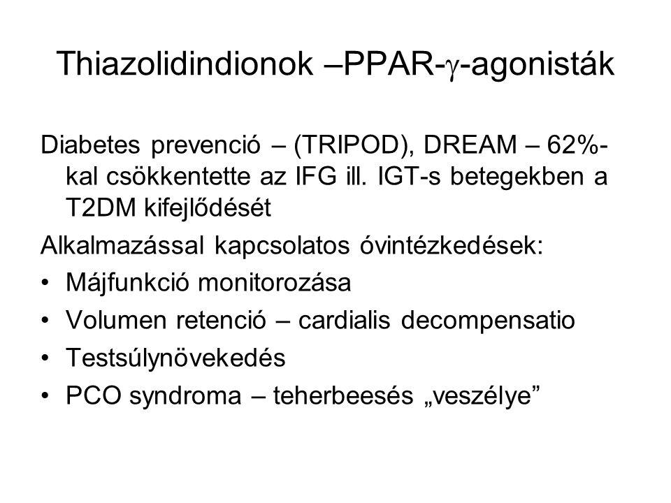 Thiazolidindionok –PPAR-  -agonisták Monoterápia Kettős kombináció - metforminnal (AVANDAMET) - szulfanilurea származékkal (AVAGLIM) Hármas kombináció -metformin+szulfanilurea származék Inzulinnal nem kombinálható