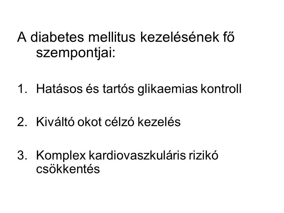 A diabetes kezelésének céljai HbA1c≤6.5% Éhgyomri plazma glukóz≤6.0 mmol/l Étkezés utáni glukóz< 7.5 mmol/l Vérnyomás<130/80 LDL<2,6 mmol/l HDL>1,2mmol/l TG<2,3 mmol/l