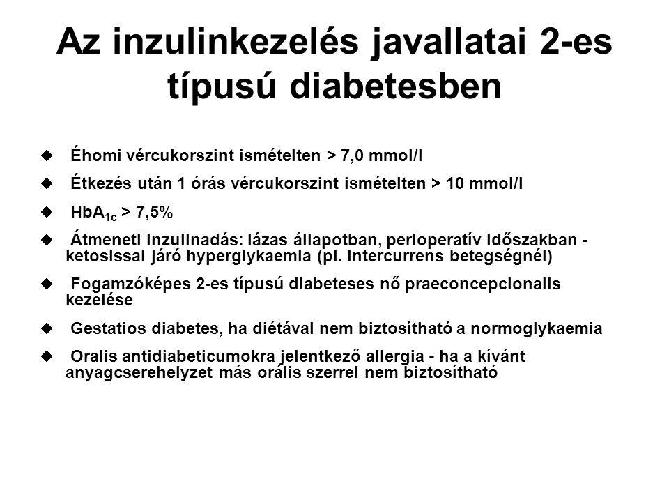 """""""Bedtime inzulin Bazalis inzulinkezelés-az orális készítmények már nem alkalmasak a hepaticus glükóztermelés megfelelő csökkentésére Az inzulinterápia bevezetésének egyik módszere – megtartott orális kezelés mellett-lefekvéskor (bedtime) adjuk az elhúzódó hatású inzulint A bedtime inzulinnal elsősorban a hepaticus glükóztermelést lehet csökkenteni, kevésbé javítja az izmok glükóz felvételét - ezért kicsi a hypoglykaemia veszélye Bázis (bedtime) inzulin+orális antidiabetikum kombinációja javasolt, ha: viszonylag stabilak a nappali vércukorszintek, de emelkedett az éhomi vércukor ha a reggeli és vacsora között kevesebb mint 12 óra telik el ha a szénhidrátbevitel viszonylag egyenletes"""