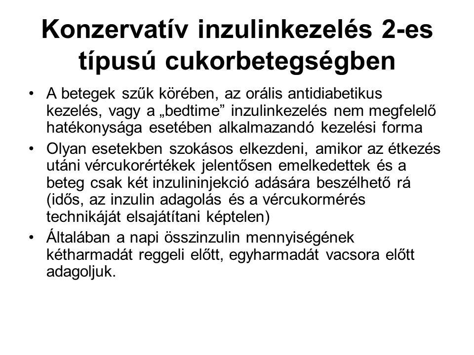 Leggyakrabban használt premix bifázisos humán inzulin forma a 30% gyors és 70% közepes hatású inzulin keveréke Ez a forma elsősorban azoknak ajánlható, akik ragaszkodnak a délelőtti és délutáni kisétkezésekhez, hogy az ilyen módon adagolt exogén inzulin minden étkezésüket lefedje Javasolt a metformin fenntartása Az előkevert humán inzulin készítmények korlátai: -humán reguláris inzulin csúcshatásához szükséges hosszú idő (1-5 óra) és a hosszú hatástartam (6-10 óra) - nem igazán jó prandiális szer A premix humán inzulint alkalmazó betegeknek az injekciót legalább 30 perccel az étkezés elnőtt be kell adniuk, viszont a lassú clearence miatt nagyobb az étkezés utáni hypoglycaemia kockázata.