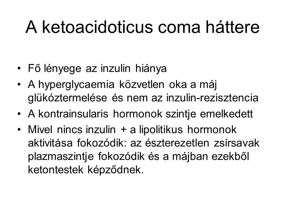 Tünetek Polyuria Súlyvesztés Gyengeség, adynamia, fáradékonyság Fejfájás Acetonos lehellet Kipirulás (vasodilatatio) Légszomj, Kussmaul-típusúlégzés Exsiccosis, másodlagos oligo-anuriával, hypotensioval A dehydráció jelei (nyálkahártyák, izomgörcsök, pseudoperitonitis) Neurológiai góctünetek, csökkent reflexek és izomtónus Tudatzavar: a plasmaosmolaritással korrelál