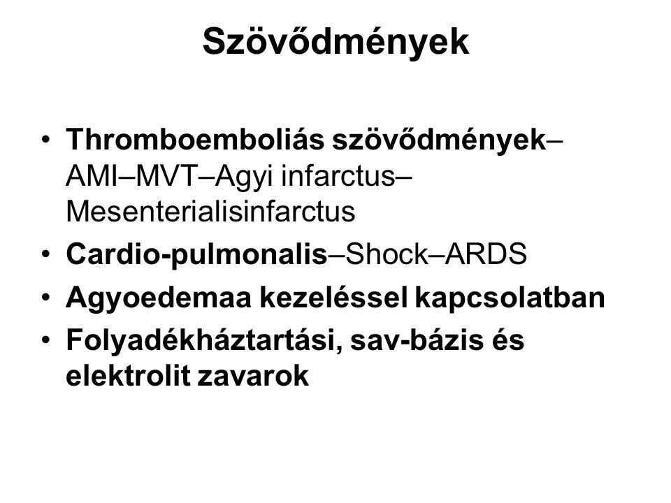 A kezelés stádiumai Gyors rehydratio: –az első 2,5 óra,–2-3,8 mmol/l/h glu csökkenés Inzulinkezelés stádiuma:–2,5-11,5 óra–3 mmol/l/h csökkenés Az egyensúlyi helyzet teljes helyreállítása: ezt követően–Amikor a VC 14 mmol/l alá csökken– Alacsony dózisú inzulin