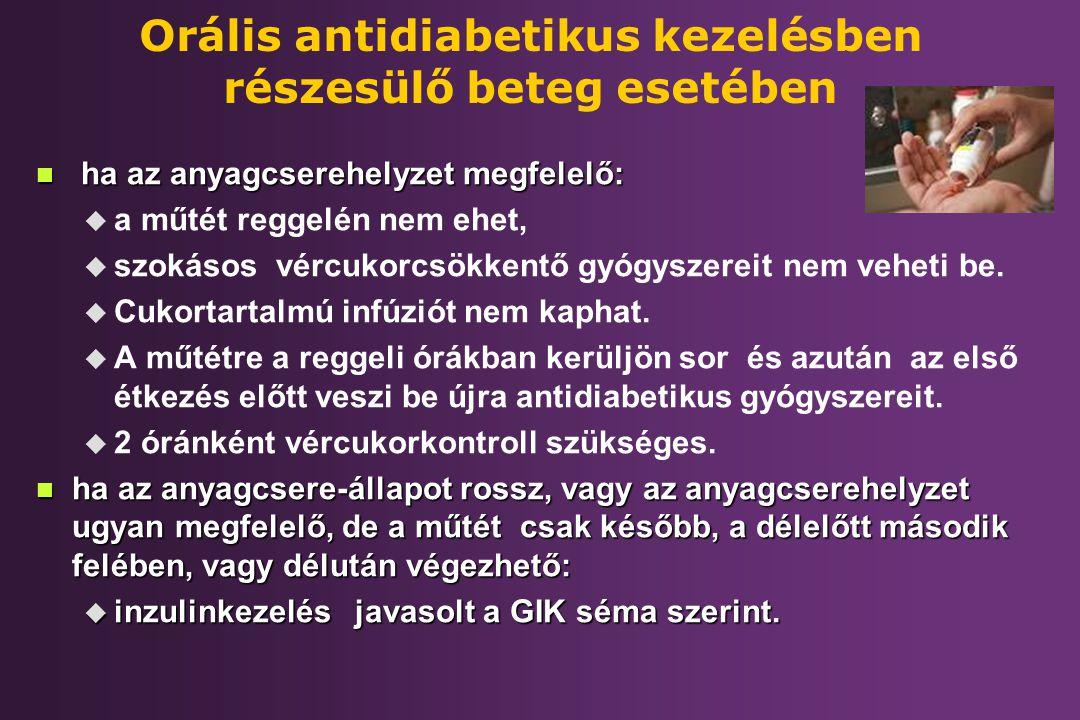 Orális antidiabetikus kezelésben részesülő beteg esetében n ha az anyagcserehelyzet megfelelő: u u a műtét reggelén nem ehet, u u szokásos vércukorcsö