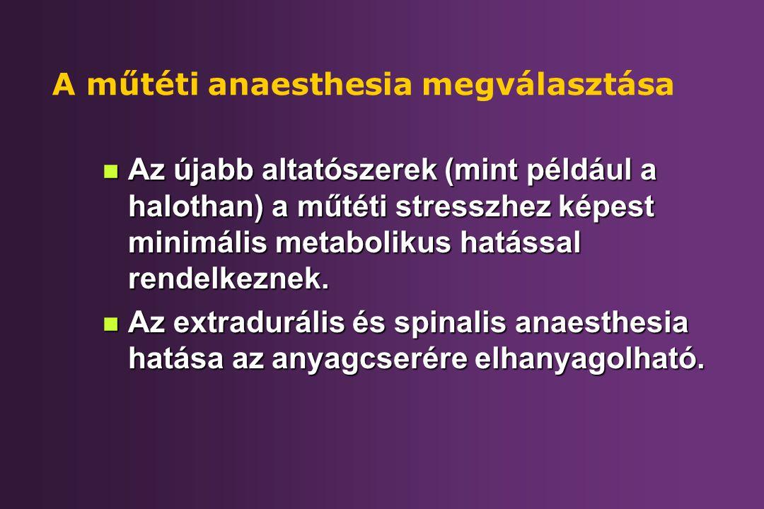 A műtéti anaesthesia megválasztása n Az újabb altatószerek (mint például a halothan) a műtéti stresszhez képest minimális metabolikus hatással rendelk