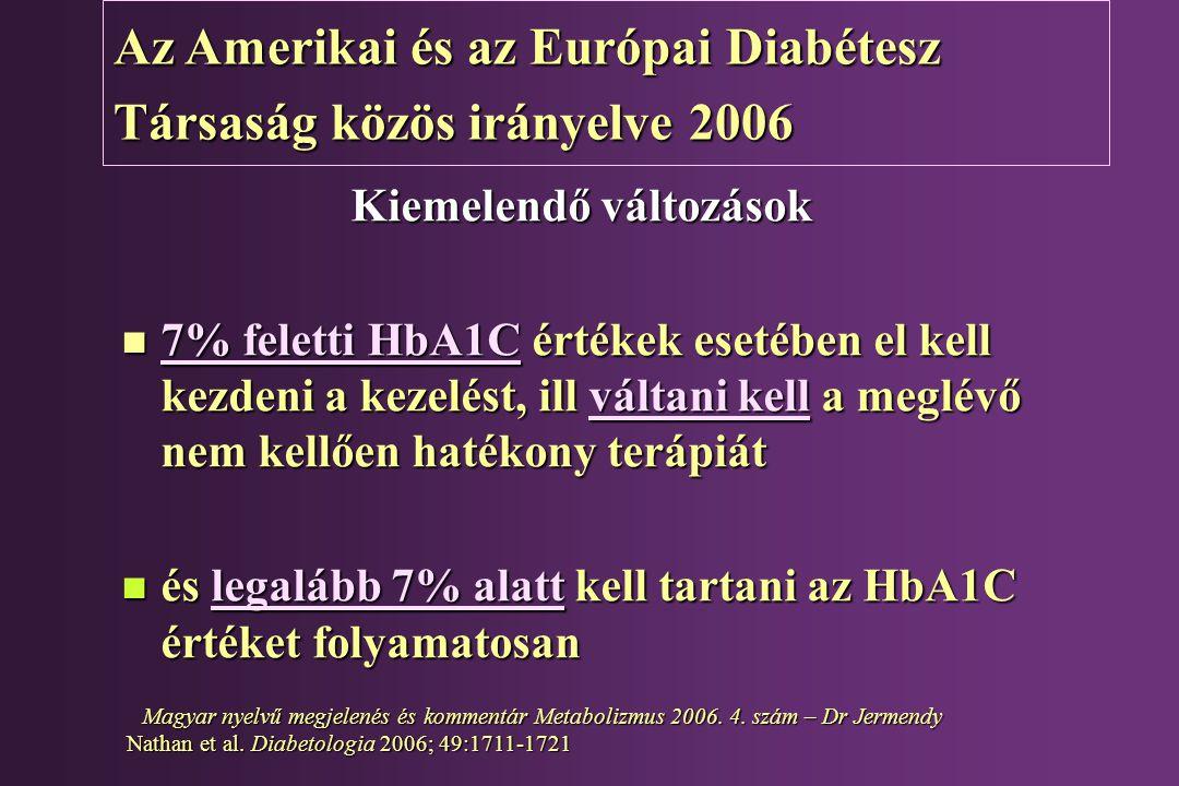Az Amerikai és az Európai Diabétesz Társaság közös irányelve 2006 Kiemelendő változások n 7% feletti HbA1C értékek esetében el kell kezdeni a kezelést