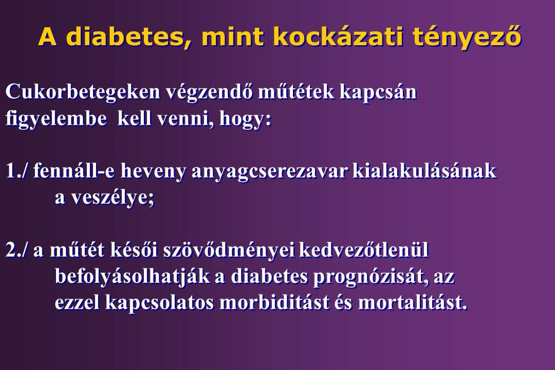 Cukorbetegeken végzendő műtétek kapcsán figyelembe kell venni, hogy: 1./ fennáll-e heveny anyagcserezavar kialakulásának a veszélye; 2./ a műtét késői
