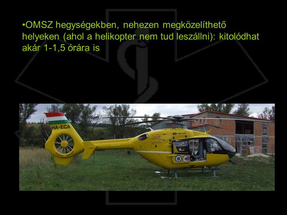 OMSZ hegységekben, nehezen megközelíthető helyeken (ahol a helikopter nem tud leszállni): kitolódhat akár 1-1,5 órára is