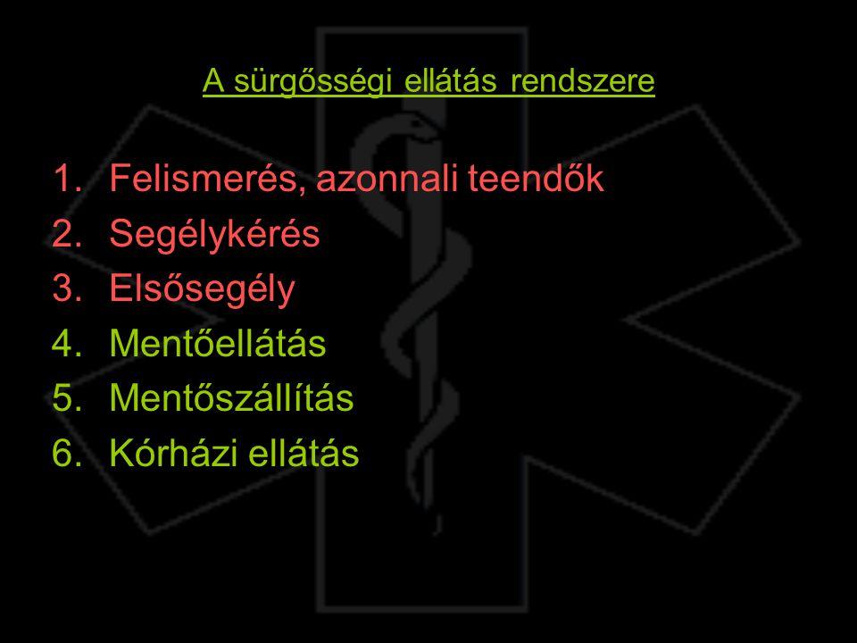 A sürgősségi ellátás rendszere 1.Felismerés, azonnali teendők 2.Segélykérés 3.Elsősegély 4.Mentőellátás 5.Mentőszállítás 6.Kórházi ellátás