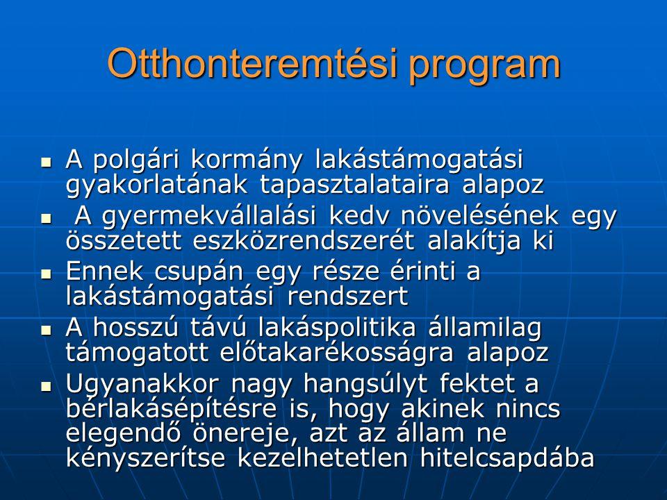 Otthonteremtési program A polgári kormány lakástámogatási gyakorlatának tapasztalataira alapoz A polgári kormány lakástámogatási gyakorlatának tapasztalataira alapoz A gyermekvállalási kedv növelésének egy összetett eszközrendszerét alakítja ki A gyermekvállalási kedv növelésének egy összetett eszközrendszerét alakítja ki Ennek csupán egy része érinti a lakástámogatási rendszert Ennek csupán egy része érinti a lakástámogatási rendszert A hosszú távú lakáspolitika államilag támogatott előtakarékosságra alapoz A hosszú távú lakáspolitika államilag támogatott előtakarékosságra alapoz Ugyanakkor nagy hangsúlyt fektet a bérlakásépítésre is, hogy akinek nincs elegendő önereje, azt az állam ne kényszerítse kezelhetetlen hitelcsapdába Ugyanakkor nagy hangsúlyt fektet a bérlakásépítésre is, hogy akinek nincs elegendő önereje, azt az állam ne kényszerítse kezelhetetlen hitelcsapdába