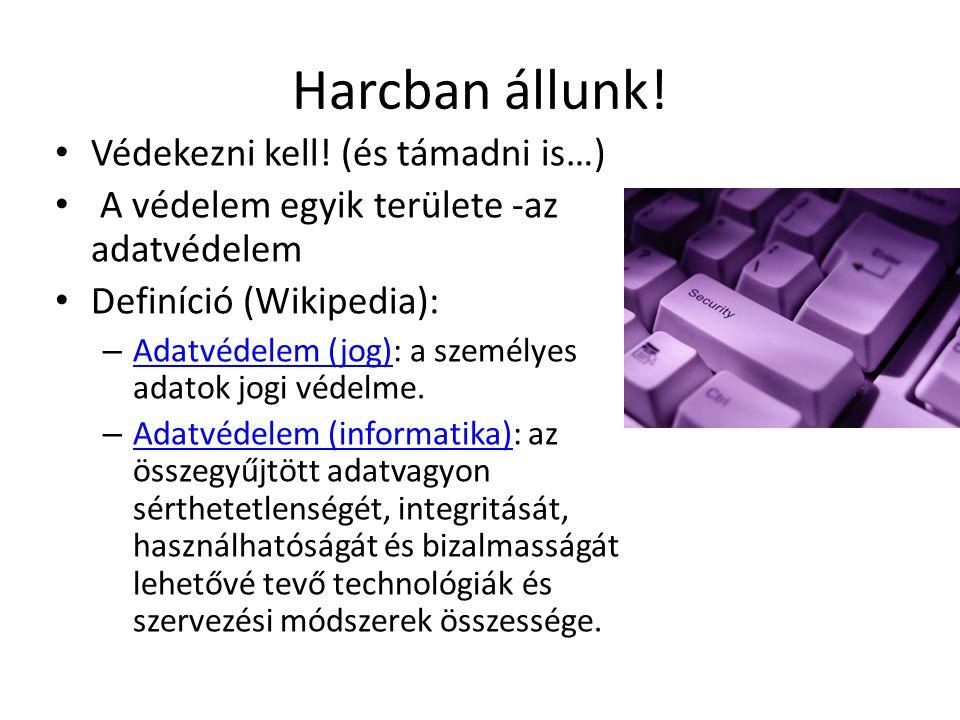 Harcban állunk! Védekezni kell! (és támadni is…) A védelem egyik területe -az adatvédelem Definíció (Wikipedia): – Adatvédelem (jog): a személyes adat
