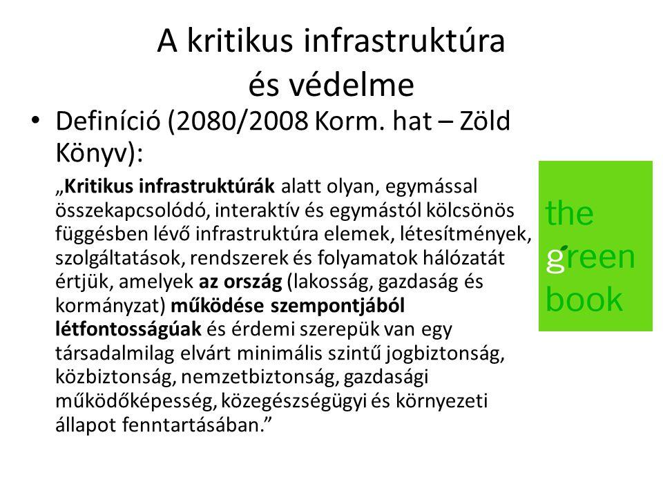 """A kritikus infrastruktúra és védelme Definíció (2080/2008 Korm. hat – Zöld Könyv): """"Kritikus infrastruktúrák alatt olyan, egymással összekapcsolódó, i"""