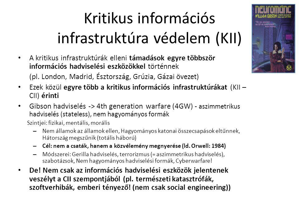 Kritikus információs infrastruktúra védelem (KII) A kritikus infrastruktúrák elleni támadások egyre többször információs hadviselési eszközökkel történnek (pl.