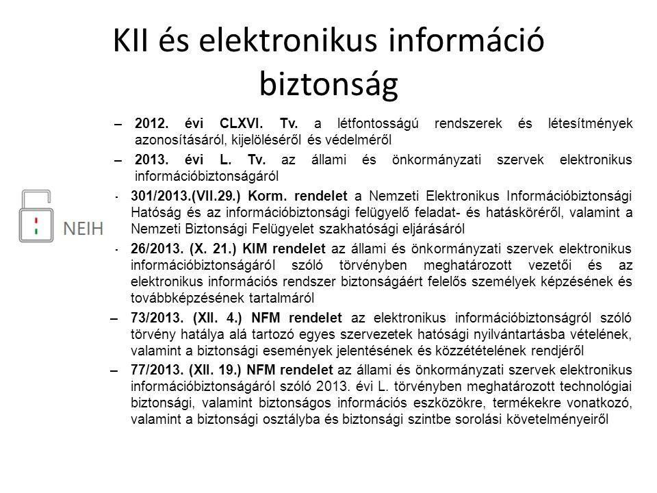 KII és elektronikus információ biztonság –2012. évi CLXVI. Tv. a létfontosságú rendszerek és létesítmények azonosításáról, kijelöléséről és védelméről