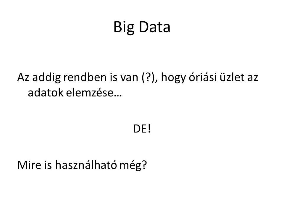 Big Data Az addig rendben is van (?), hogy óriási üzlet az adatok elemzése… DE! Mire is használható még?