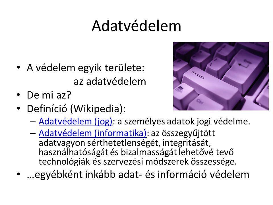 Adatvédelem A védelem egyik területe: az adatvédelem De mi az? Definíció (Wikipedia): – Adatvédelem (jog): a személyes adatok jogi védelme. Adatvédele