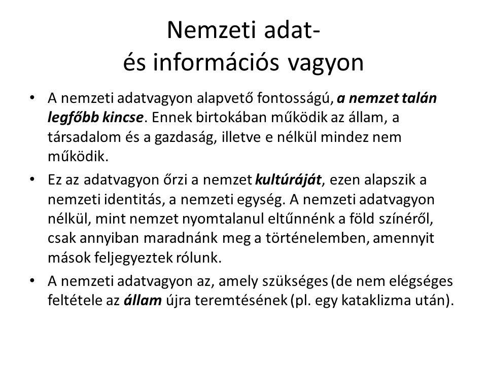 Nemzeti adat- és információs vagyon A nemzeti adatvagyon alapvető fontosságú, a nemzet talán legfőbb kincse. Ennek birtokában működik az állam, a társ