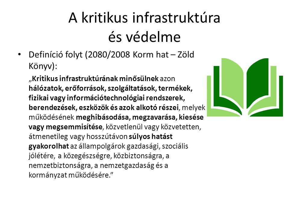 """A kritikus infrastruktúra és védelme Definíció folyt (2080/2008 Korm hat – Zöld Könyv): """"Kritikus infrastruktúrának minősülnek azon hálózatok, erőforr"""