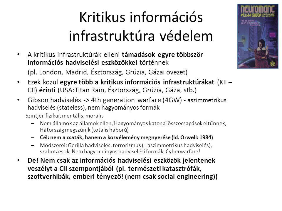 Kritikus információs infrastruktúra védelem A kritikus infrastruktúrák elleni támadások egyre többször információs hadviselési eszközökkel történnek (